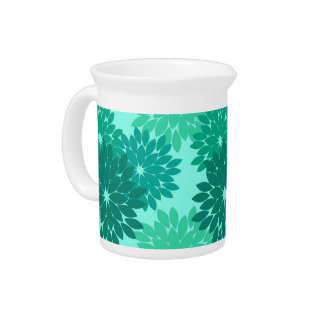 Modern Floral Kimono Print, Turquoise, Teal & Aqua Pitcher