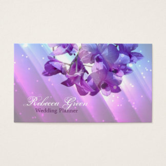 modern floral lilac purple orchid wedding business card