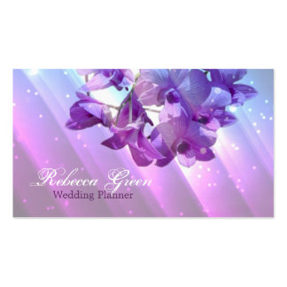 modern floral lilac purple orchid wedding pack of standard business cards