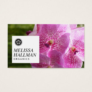 Modern Floral Logo Bright Orchids II Business Card