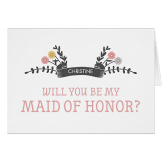 Modern Floral Maid of Honor Request Card