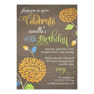 Modern Floral Orange & Brown Fancy Birthday Party 13 Cm X 18 Cm Invitation Card