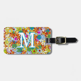 Modern Floral Pattern Bright Colors Luggage Tag