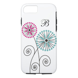 Modern Floral Pattern - Custom Monogram iPhone 7 Case