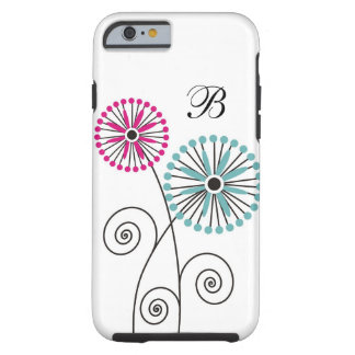 Modern Floral Pattern - Custom Monogram Tough iPhone 6 Case