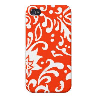 Modern Floral Pattern Gifts Orange White iPhone 4 Case
