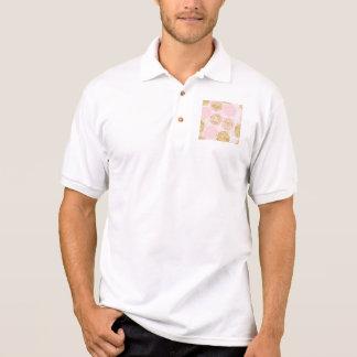 Modern floral pattern, gold,pink,white,chic,beauti polo shirt