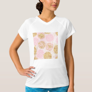 Modern floral pattern, gold,pink,white,chic,beauti T-Shirt