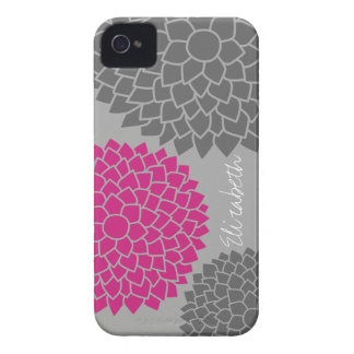 Modern Floral pattern - pink gray iPhone 4 Cases