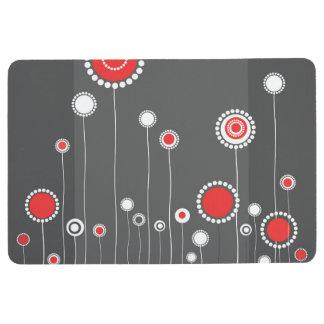 Modern Floral Pattern Red Floor Mat