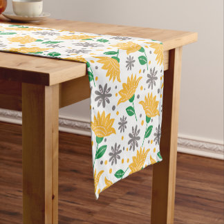 Modern Floral Pattern | Yellow And Gray Flowers Short Table Runner