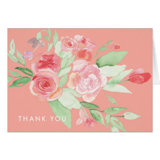 Modern Floral Pink Watercolor Thank You Note Card