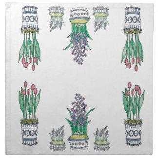 Modern Floral Pots Napkin Set