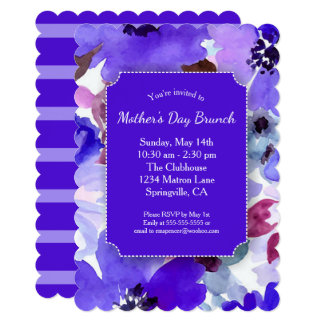 Modern Floral Purple Mother's Day Brunch Party Card