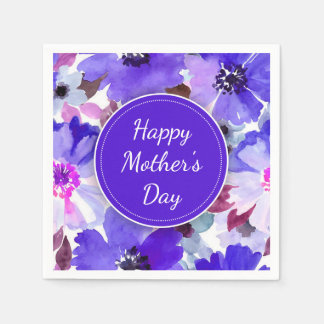 Modern Floral Purple Mother's Day Paper Napkins Disposable Napkin