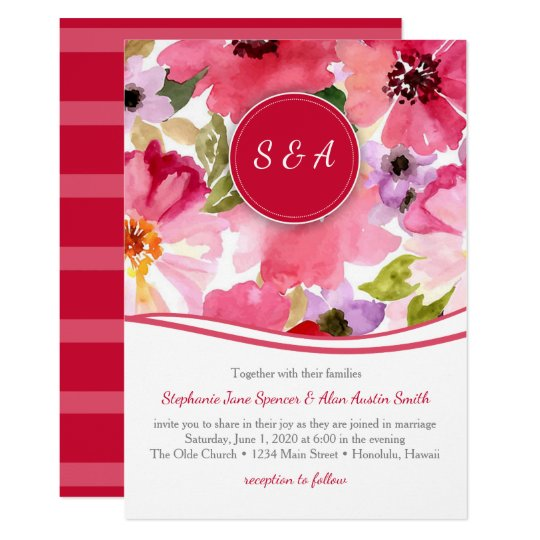 Modern Floral Red Watercolor Wedding Invitation