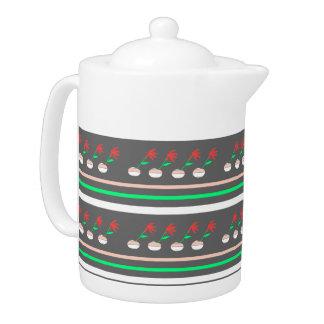 Modern Floral Repeated Medium Teapot