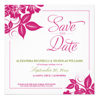 Modern Floral Save the Date Announcement (fuchsia)