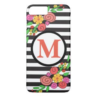 modern floral stripe cell phone case