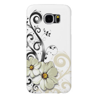 Modern Floral Swirling Curlicues | white