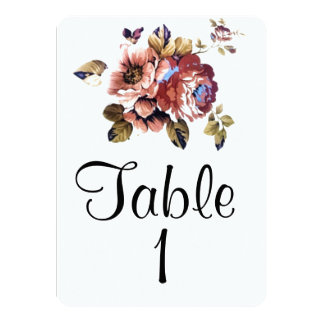 Modern Floral Table Number Card 11 Cm X 16 Cm Invitation Card