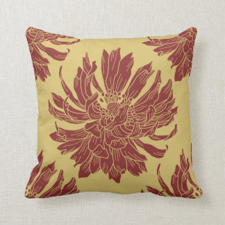 Modern Floral Throw Pillow - Harvest Gold & Maroon