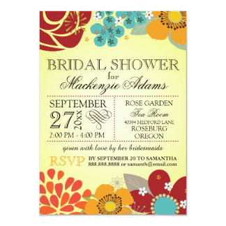 Modern Floral Typography Bridal Wedding Shower 4.5x6.25 Paper Invitation Card