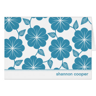 Modern Floral Vines Blue Custom Thank You Cards
