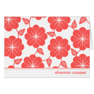 Modern Floral Vines Red Custom Thank You Cards