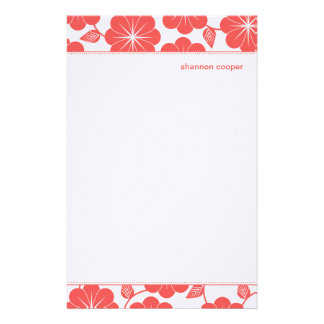 Modern Floral Vines Red Personalized Stationery
