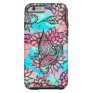 Modern floral watercolor hand drawn fall trend tough iPhone 6 case