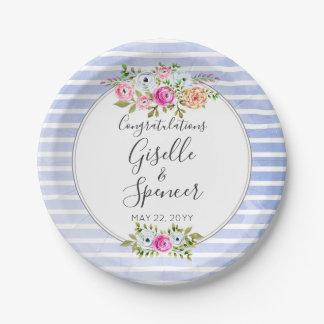 Modern Floral Watercolor Navy Stripe Wedding Paper Plate