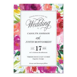 Modern Floral Watercolor Wedding Invitation