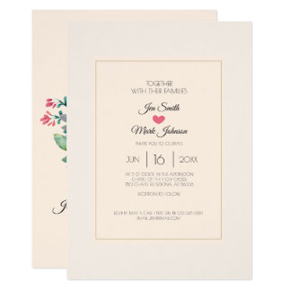 Modern Floral Watercolor  Wedding Invitation. Card