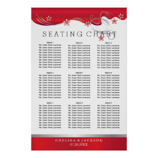 Modern Floral Wedding | Deep Red - 9 Seating Chart Poster