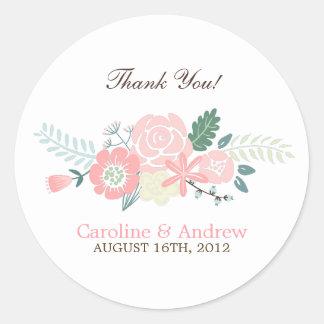 Modern Floral Wedding Round Sticker
