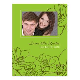 Modern Floral Wedding Save the Date Green & Brown Postcard