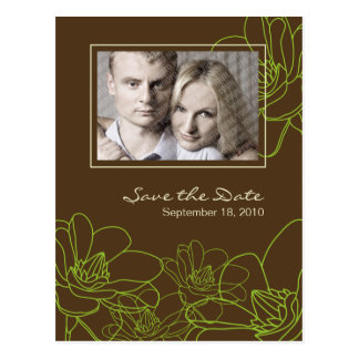 Modern Floral Wedding Save the Date Postcard