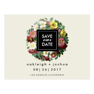 Modern Floral Wreath | Save the Date Postcard