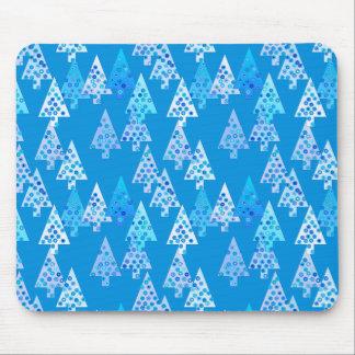 Modern flower Christmas trees - cerulean blue Mousepads