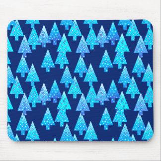 Modern flower Christmas trees - cobalt blue Mousepads