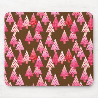 Modern flower Christmas trees - coral & brown Mousepad
