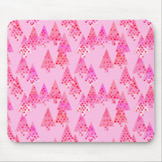Modern flower Christmas trees - pastel pink Mouse Pad