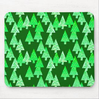 Modern flower Christmas trees - pine green Mousepad