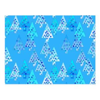 Modern flower Christmas trees - sky blue Post Card