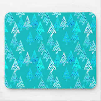 Modern flower Christmas trees - turquoise Mouse Pad