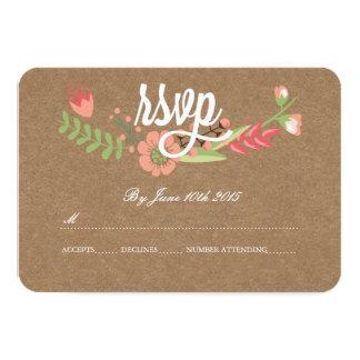 MODERN FLOWER KRAFT PAPER RSVP CARDS
