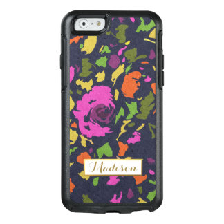 Modern Flowers Bold Colorful Trendy with Monogram OtterBox iPhone 6/6s Case