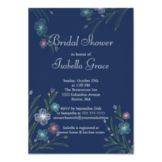 Modern Flowers floral Bridal Shower Invitations