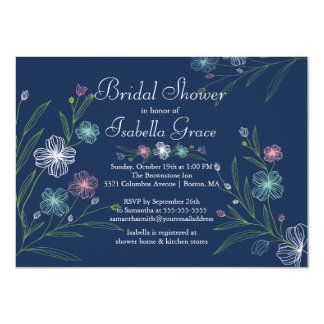"Modern Flowers floral Bridal Shower Invitations 4.5"" X 6.25"" Invitation Card"